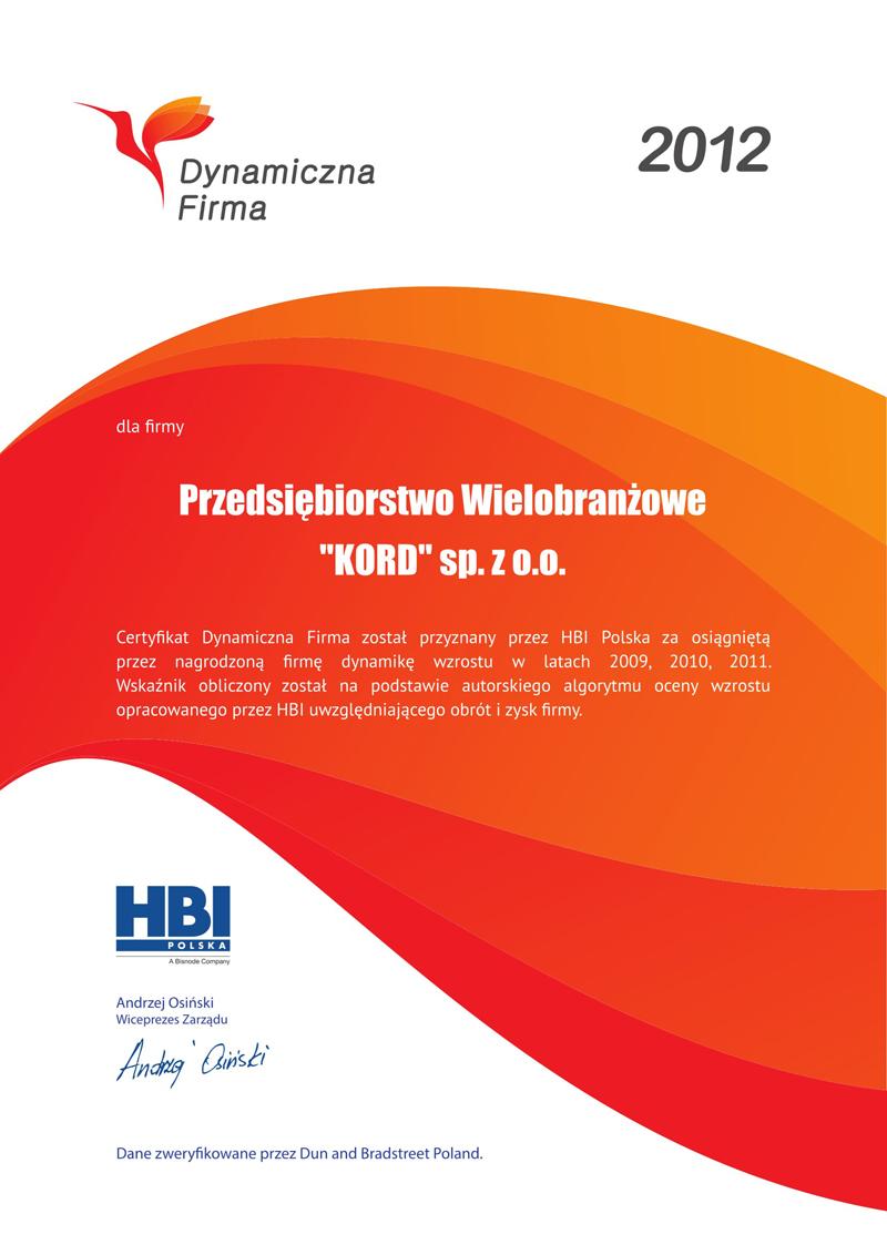 Certyfikat Dynamiczna firma 2012