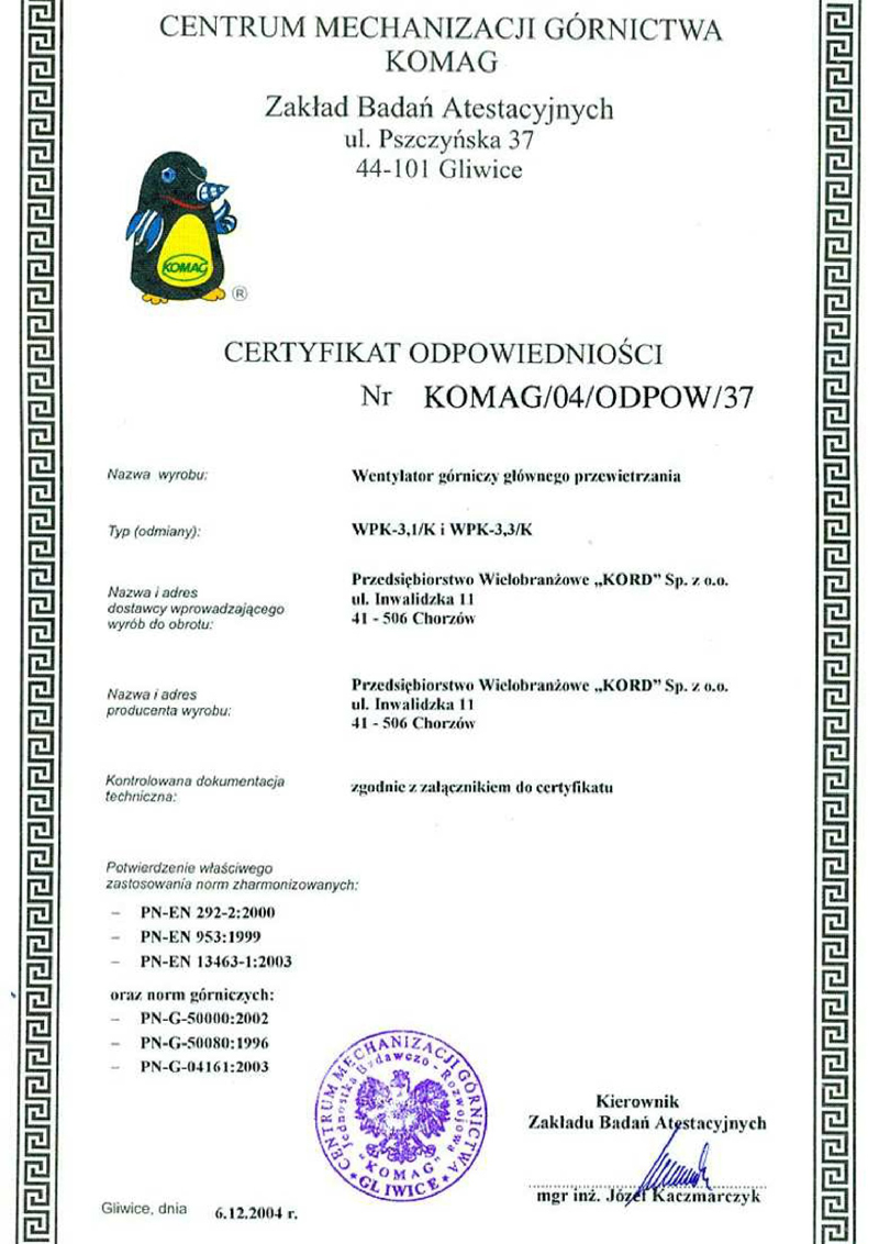 Certyfikat Odpowiedniości