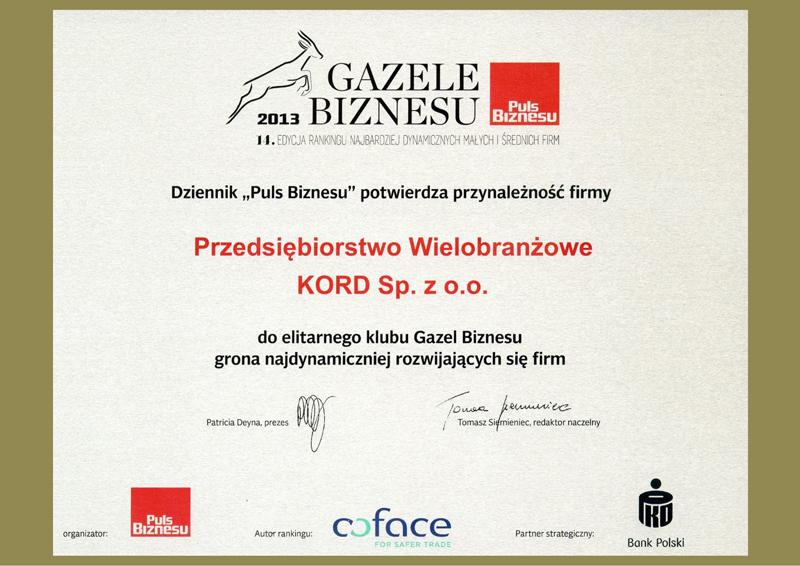 Certyfikat Gazele Biznesu 2013