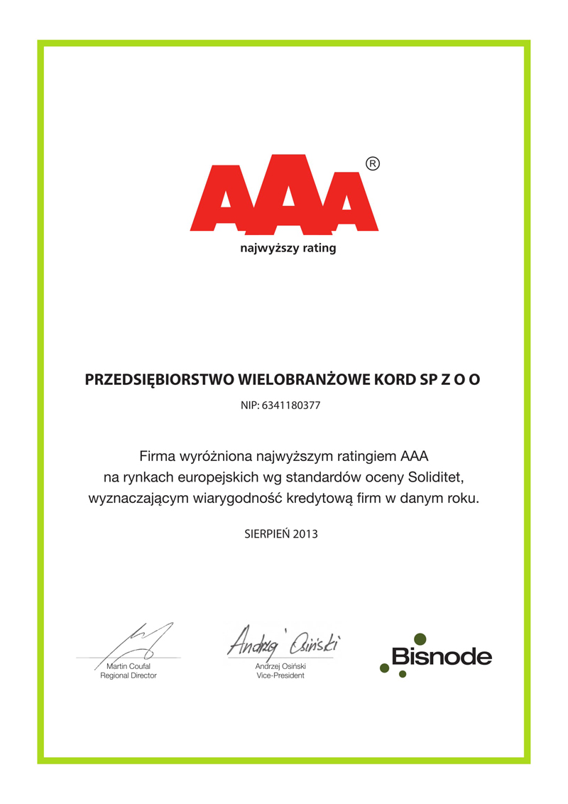 Certyfikat Solidet 2013